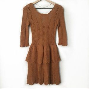 Anthro Knitted & Knotted Open Knit Ruffle Dress